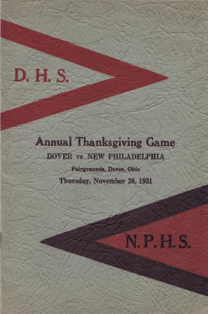 Dover New Phila 1931 Game Program
