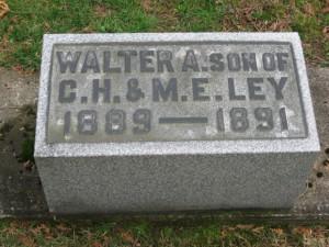 Walter Augustus Ley headstone Union Cemetery, Port Washington, Ohio