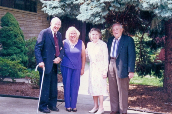 "Bob and Sue Ley with cousin ""Scoop"" Wible and wife Dorothy at the Leys' Dover home, sometime in the 1990s."