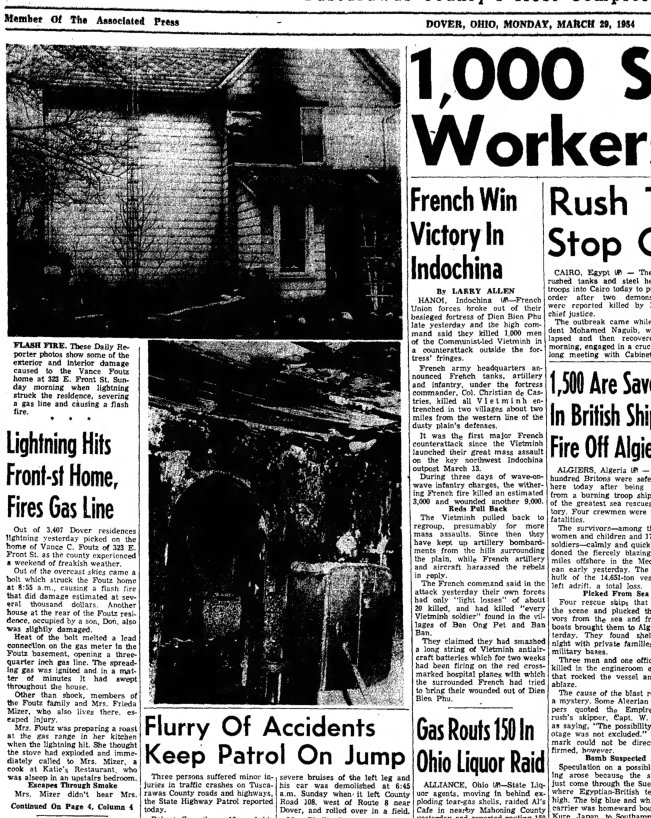 Foutz Vance Don lightning fire Daily Reporter front 29 March 1954